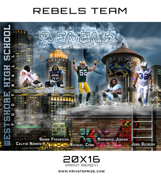 Rebel Themed Sports Template - Photography Photoshop Templates