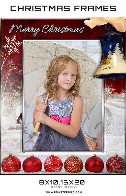 Red Bell Christmas Frame Digital Backdrop - Photography Photoshop Templates