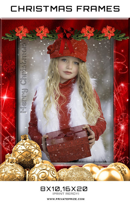 Red Golden Christmas Frame Digital Backdrop - Photography Photoshop Templates