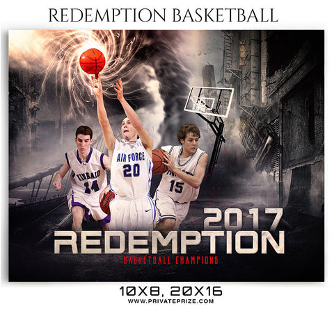 Redemption Basketball Themed Sports Photography Template - Photography Photoshop Template