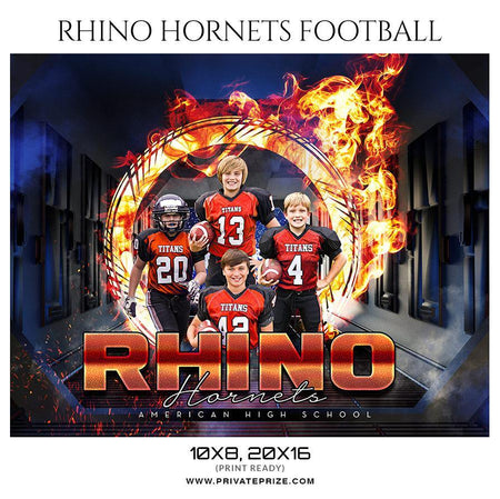 Rhino Hornets - Football Themed Sports Photography Template - PrivatePrize - Photography Templates