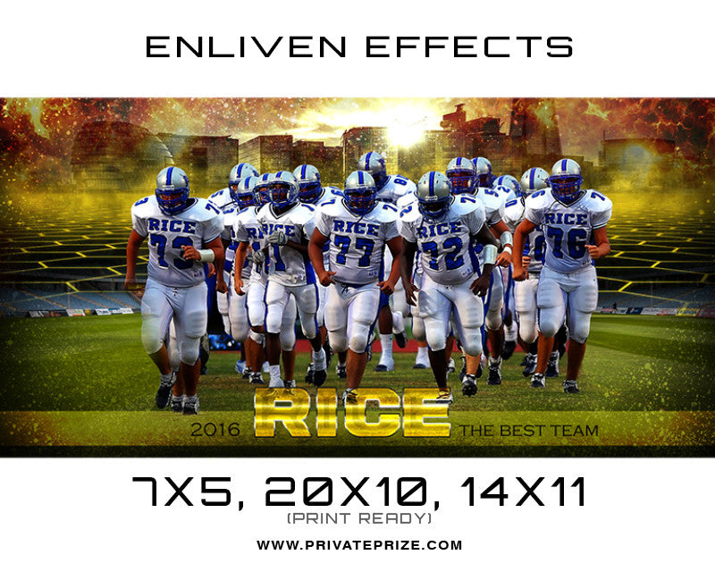 Rice Team Football - Enliven Effects - Photography Photoshop Template
