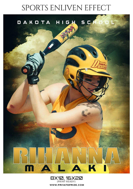 Rihanna Malaki - Softball Sports Enliven Effect Photography template