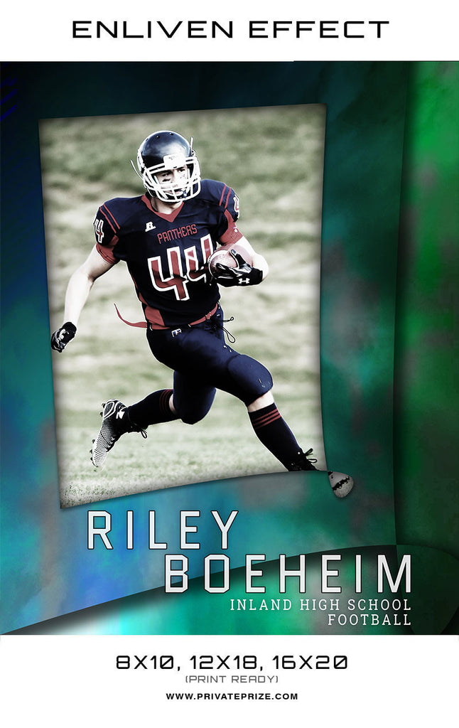 Riley Inland High School Football Sports Template -  Enliven Effects - Photography Photoshop Templates