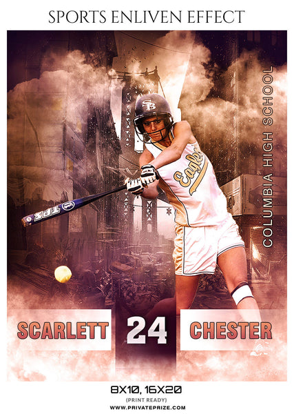 SCARLET CHESTER-SOFTBALL- SPORTS ENLIVEN EFFECT - Photography Photoshop Template