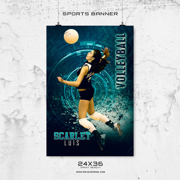 Scarlet Luis-Volleyball-24X36-Enliven Effects Sports Banner Photoshop Template