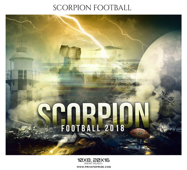 SCORPION - FOOTBALL  Themed Sports Photography Template - Photography Photoshop Template