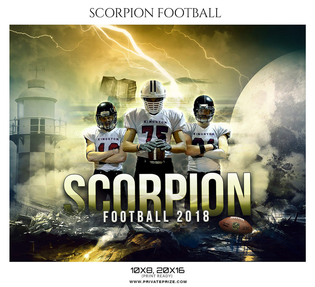 Scorpion Football Themed Sports Photography Template