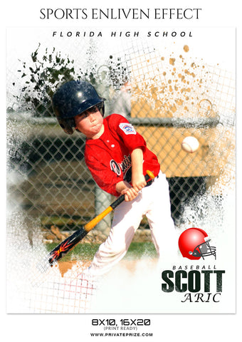 SCOTT ARIC BASEBALL- SPORTS ENLIVEN EFFECT - Photography Photoshop Template