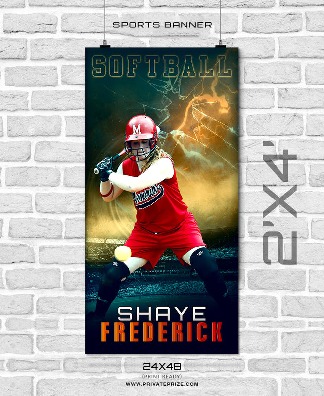 Shaye frederick - Softball Enliven Effects Sports Banner Photoshop Template - Photography Photoshop Template