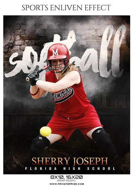 Sherry Joseph - Softball Sports Enliven Effect Photography template