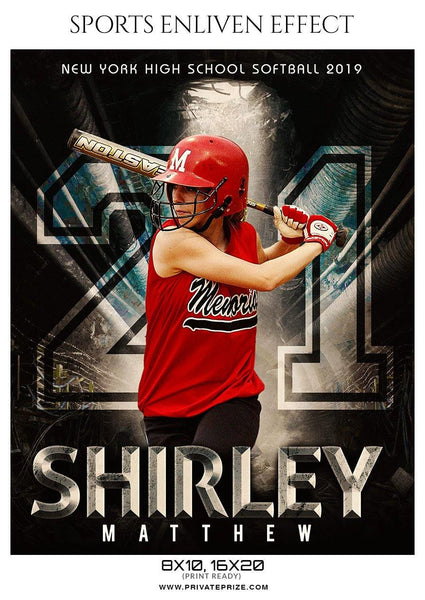 Shirley Matthew - Softball Sports Enliven Effect Photography template