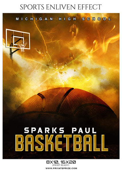 Sparks Paul - Basketball Sports Enliven Effects Photography Template - Photography Photoshop Template