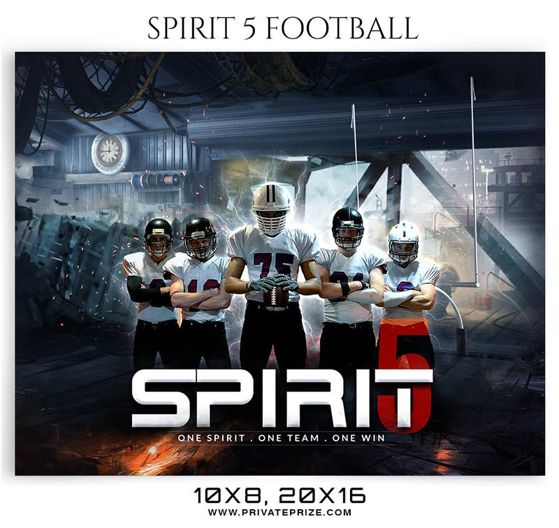 Spirit 5  Football 2018 Themed Sports Photography Template - Photography Photoshop Template