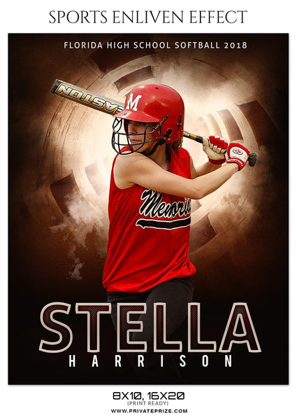 STELLA HARRISON-SOFTBALL- SPORTS ENLIVEN EFFECT - Photography Photoshop Template