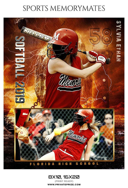 Sylvia Ethan - Softball Sports Memory Mates Photography Template