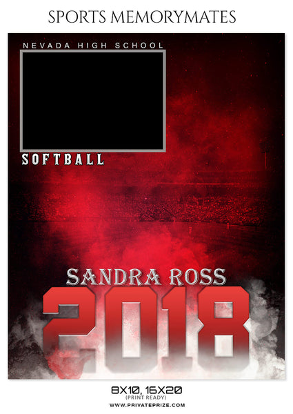 Sandra Ross - Softball Sports Memory Mates Photography Template - Photography Photoshop Template