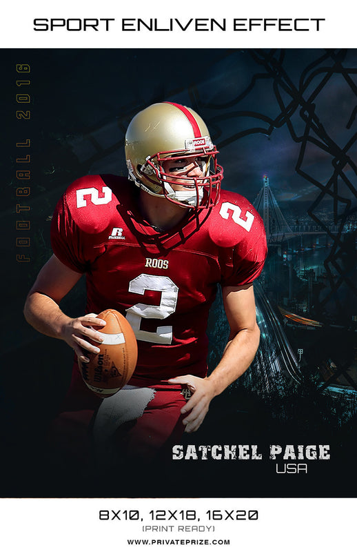 Satchel Football High School Sports Template -  Enliven Effects - Photography Photoshop Template
