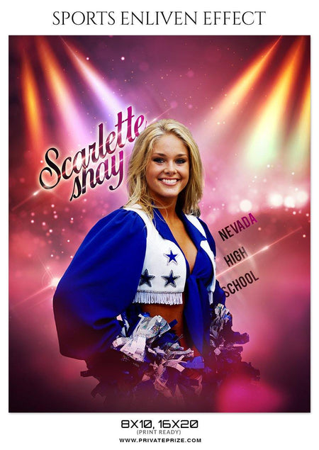 Scarlett Shay - Cheerleaders Sports Enliven Effect Photography Template - Photography Photoshop Template