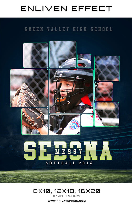 Sedona Green Valley High School Sports Template -  Enliven Effects - Photography Photoshop Template