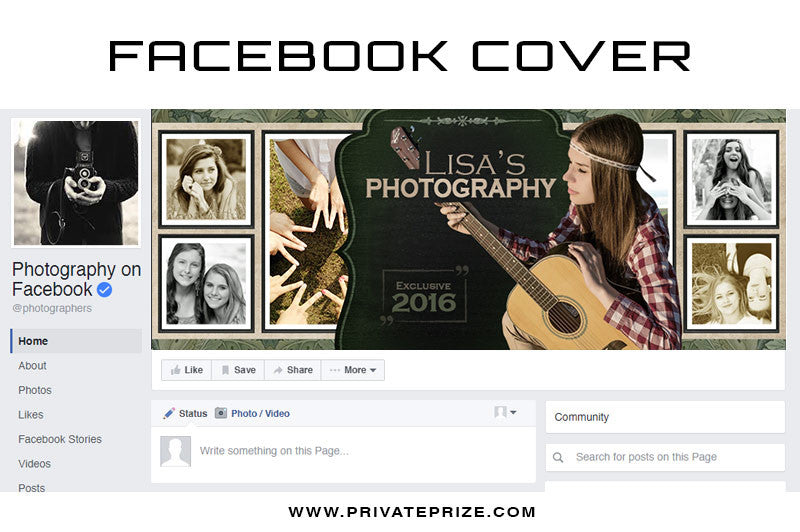 Facebook Timeline Cover Senior Photography - Photography Photoshop Templates