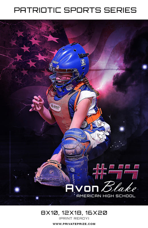 Softball - Sports Patriotic Series - Photography Photoshop Templates