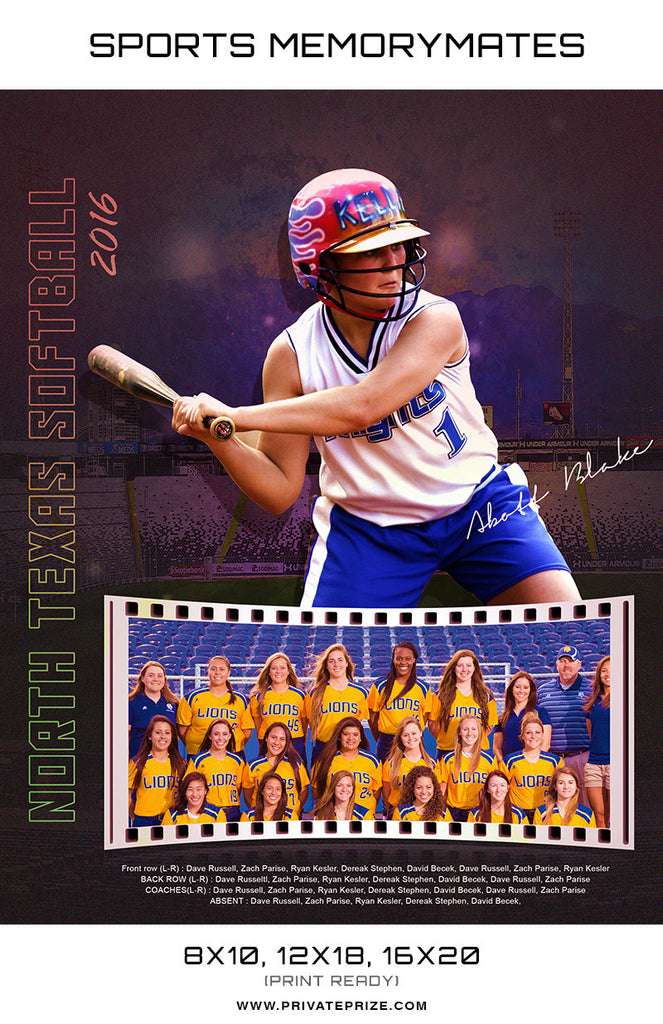 North Texas Softball - Sports MemoryMate Photoshop Template - Photography Photoshop Templates