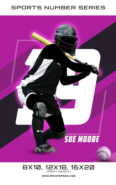 Softball - Sports Number Series - Photography Photoshop Template