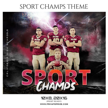 Sport Champs- Football Themed Sports Photography Template - PrivatePrize - Photography Templates