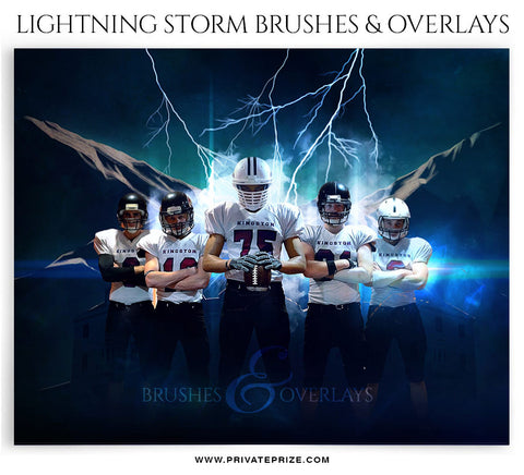 Lightning Storm Brushes and Digital Overlays - Photography Photoshop Template