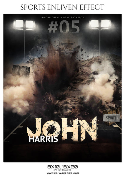 John Haris - Basketball Sports Enliven Effects Photography Template - Photography Photoshop Template