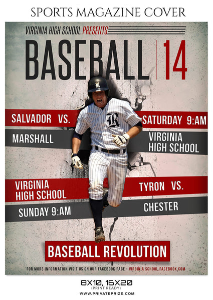 VIRGINIA HIGH SCHOOL Baseball - Sports Photography Magazine Cover - Photography Photoshop Template