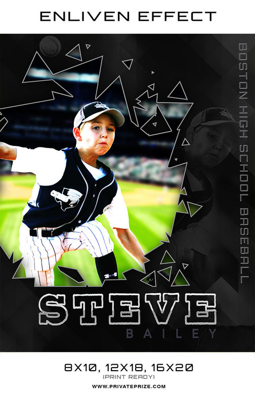 Steve Boston High School Baseball Sports Template -  Enliven Effects - Photography Photoshop Templates