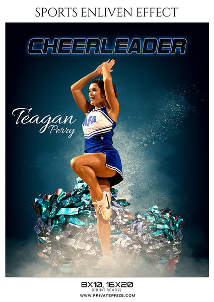 TEAGAN PERRY-CHEERLEADER SPORTS TEMPLATE- ENLIVEN EFFECTS - Photography Photoshop Template