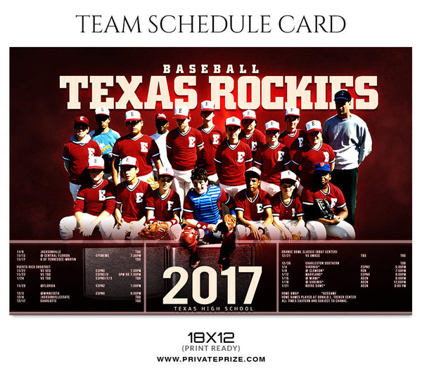 Team Schedule card Sports Photography Photoshop Template