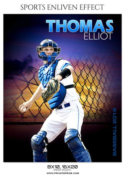 THOMAS ELLIOT-BASEBALL- SPORTS ENLIVEN EFFECT - Photography Photoshop Template