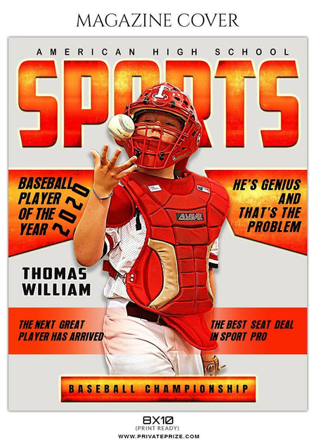 Baseball - Magazine Cover Sports Photography  templates - Photography Photoshop Template