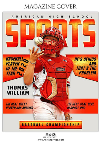 Baseball - Magazine Cover Sports Photography  templates