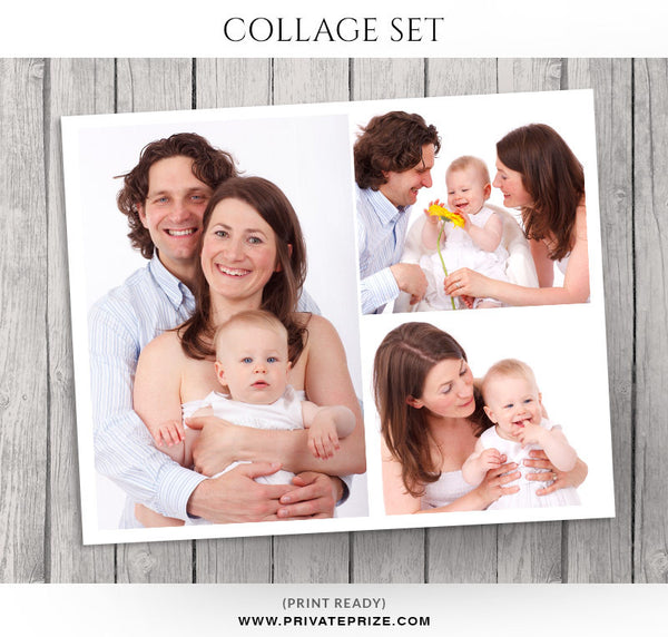 New Born Photo Collage Template - Story Board - Photography Photoshop Templates