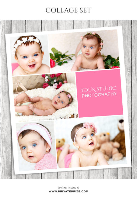 Baby Photo Collage Template - Story Board - Photography Photoshop Template