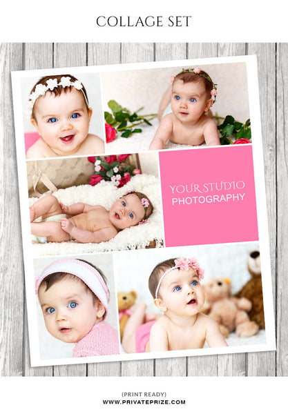 Baby Photo Collage Template - Story Board - Photography Photoshop Templates