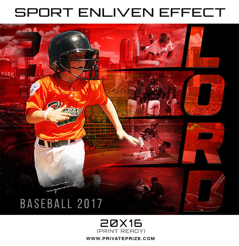 Lord Softball & Baseball 2017 Sports Photography Template -  Enliven Effects - Photography Photoshop Templates