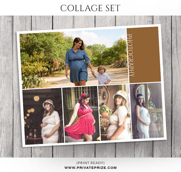 Maternity Photo Collage Template - Story Board - Photography Photoshop Templates