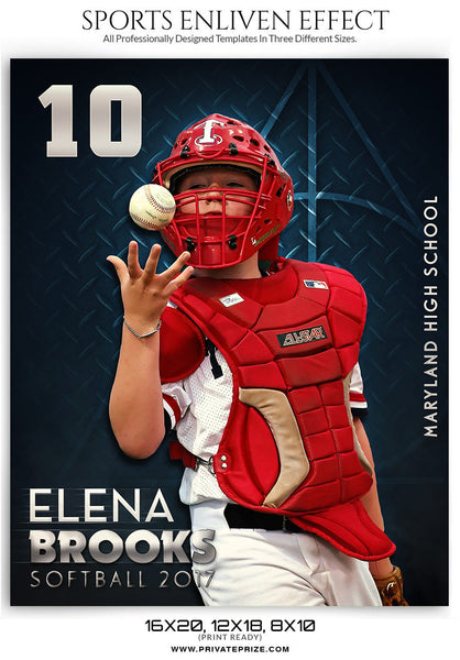Elena Brooks Softball Enliven Effect - Photography Photoshop Templates