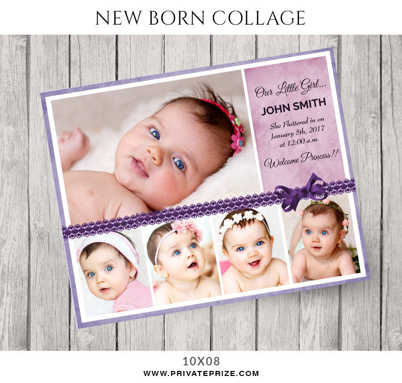 Baby Collage Set - Little Girl - Photography Photoshop Template