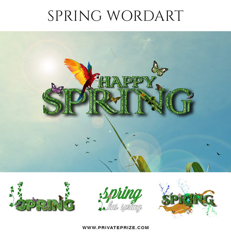 Happy Spring Wordart- Designer Pearls - Photography Photoshop Template
