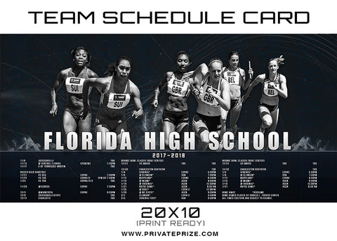 Florida Team Schedule Card - Photography Photoshop Templates