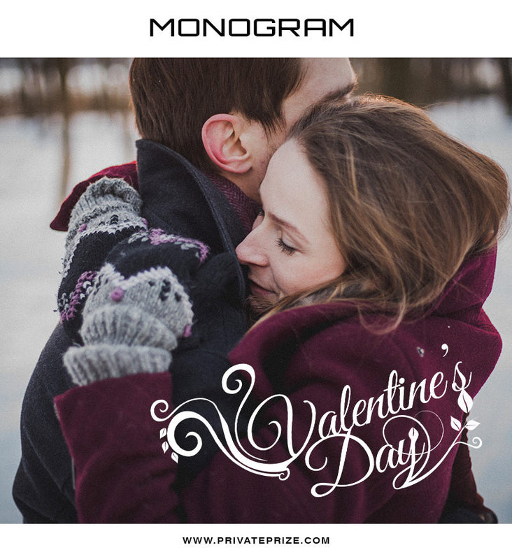 Valentine's Day- Love Monogram - Photography Photoshop Template