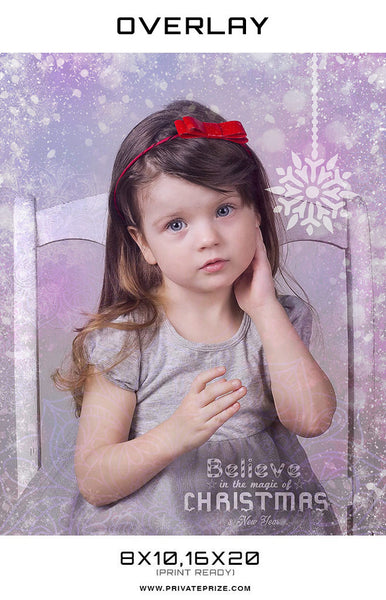 Believe in the magic of Christmas Overlay - Photography Photoshop Templates