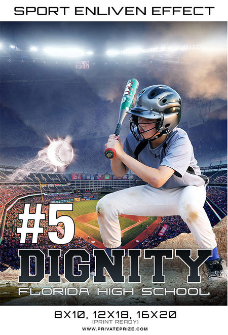 Dignity BaseBall 2017 Sports Photography Template -  Enliven Effects - Photography Photoshop Template